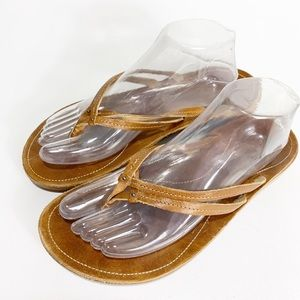 Olukai Leather Thing Flip Flops Brown Size 10